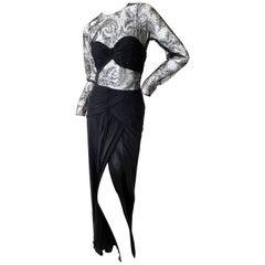 Oscar de la Renta Sheer 1980's Black Lace Dress with High Slit