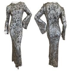 Oscar de la Renta Sheer Silver Lace Embellished Bell Sleeve Evening Dress