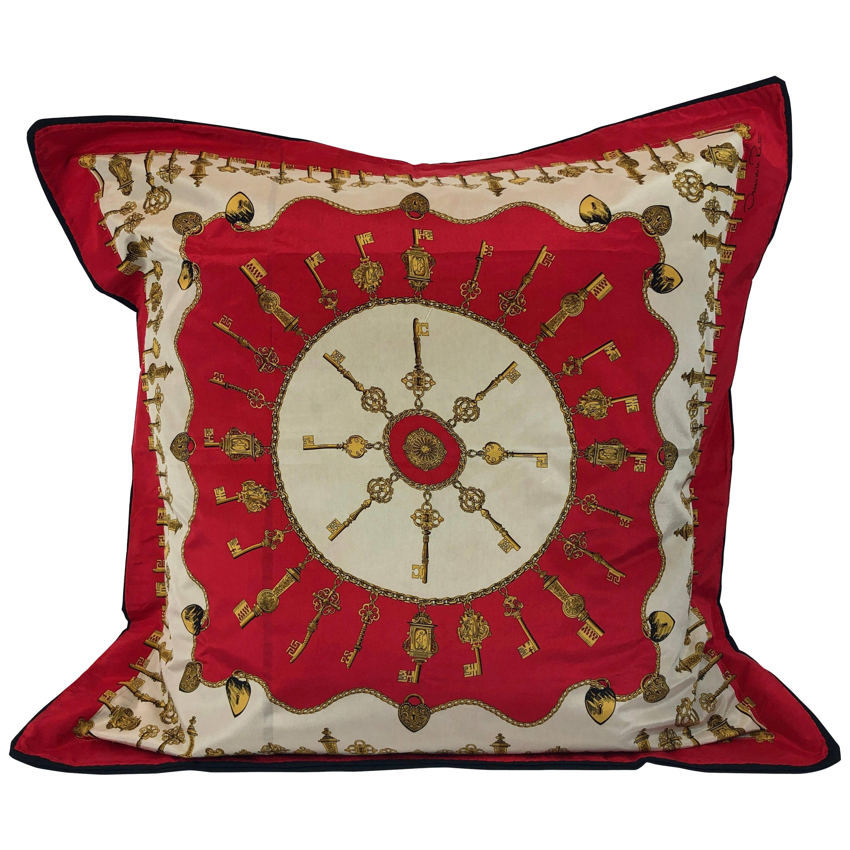 Oscar De La Renta Silk Scarf In Red Gold White And Black And Upholstered Pillow For Sale At 1stdibs