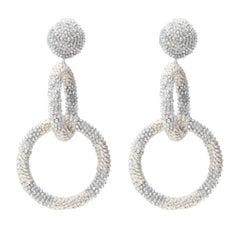 OSCAR DE LA RENTA silver bead embellished dual hoop clip on statement earring