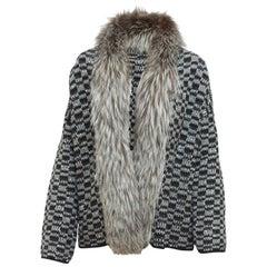 Oscar de la Renta Silver & Black Fur-Trimmed Sweater