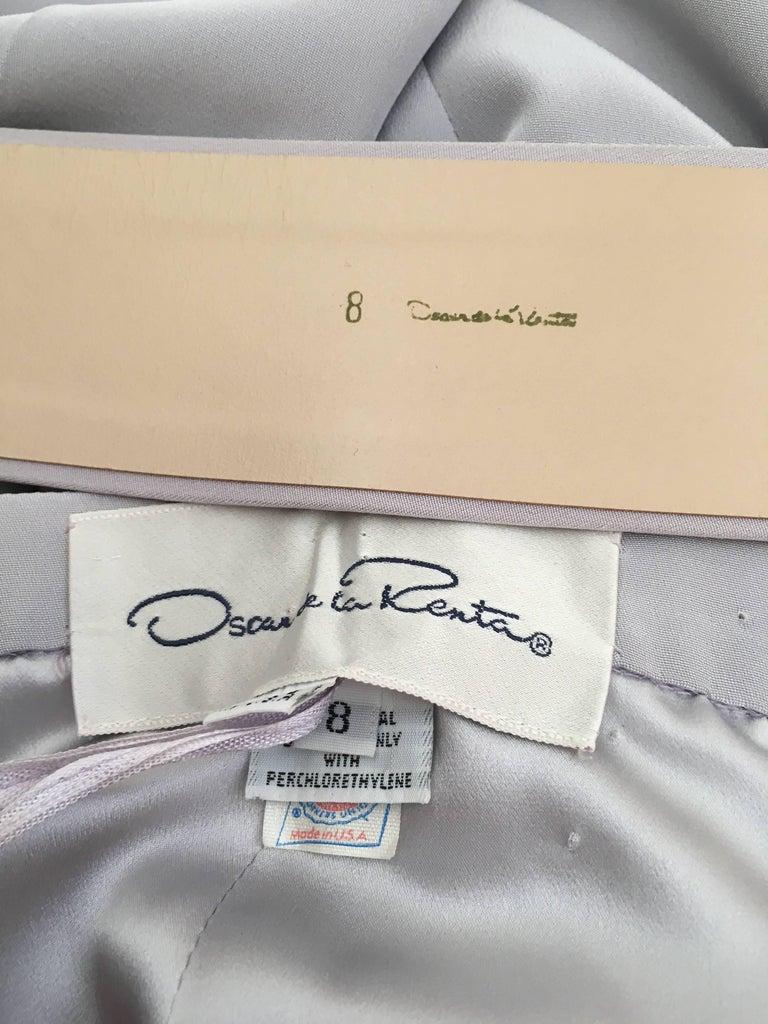 Oscar de la Renta Silver Grey Silk Pleated Pants with Pockets & Belt Size 6. For Sale 6