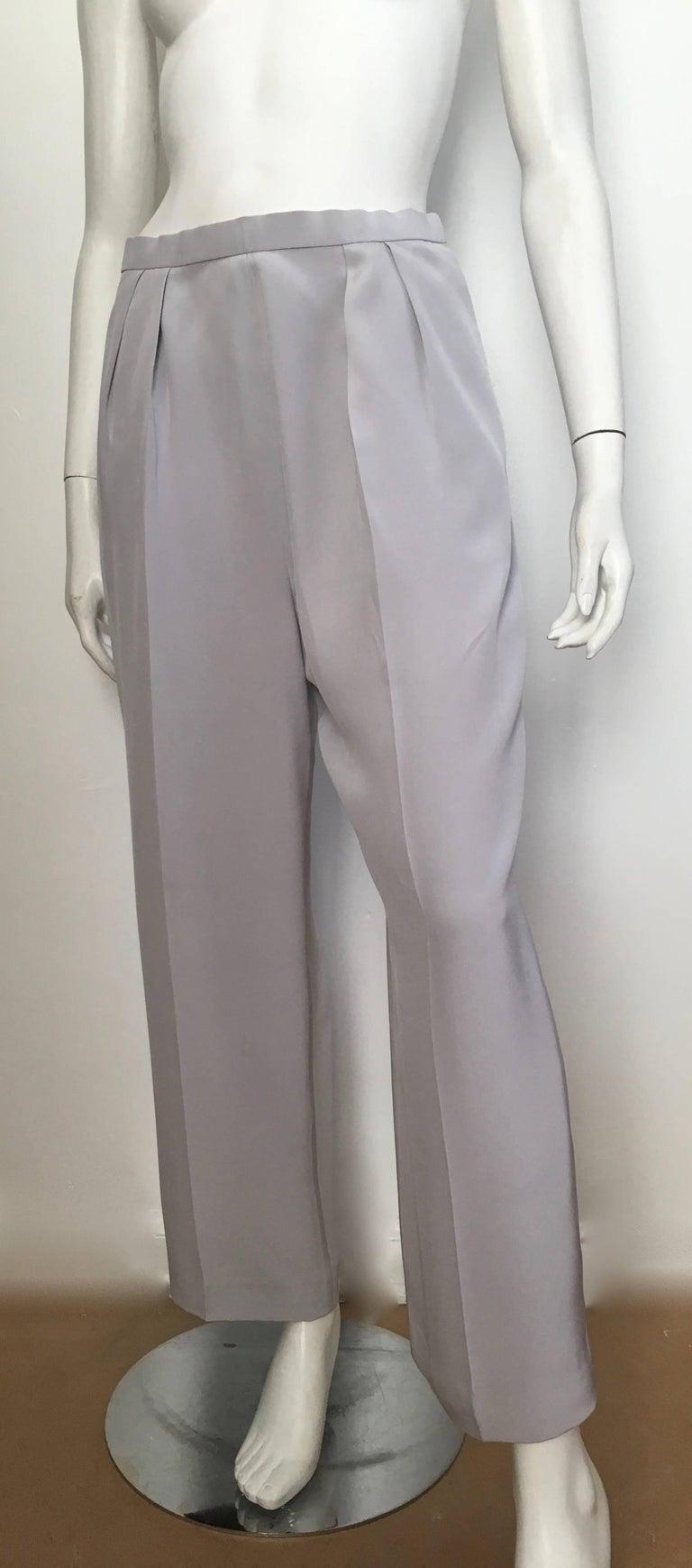 Oscar De La Renta Silver Grey Silk Pleated Pants With
