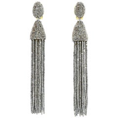 Oscar De La Renta Silvertone Tassel Clip-On Dangle Earrings