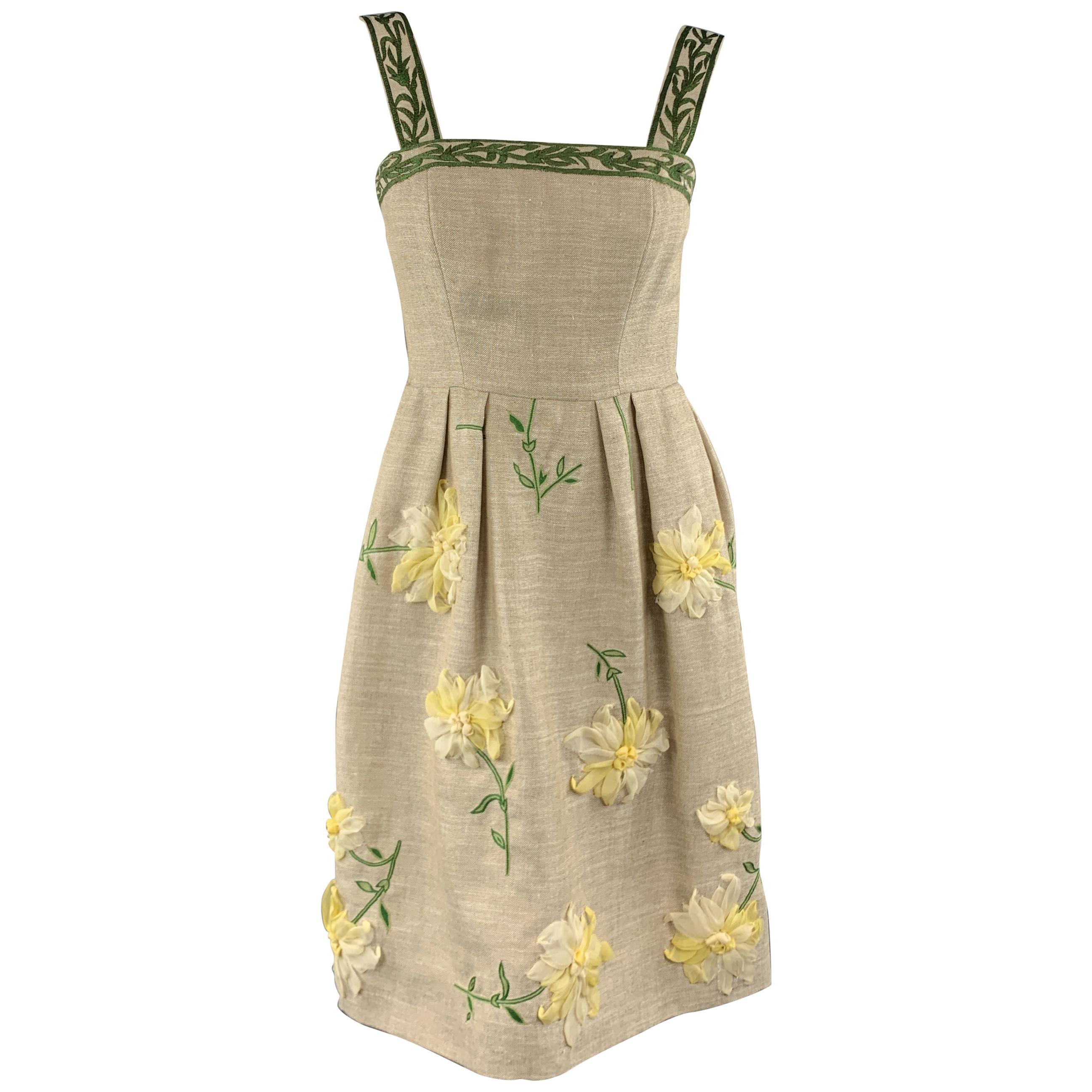 OSCAR DE LA RENTA Size 0 Taupe Woven Yellow Silk Flower Fit Flair Dress