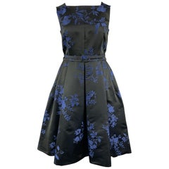 OSCAR DE LA RENTA Size 12 Black & Blue Floral Satin Sleeveless Cocktail Dress