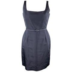 OSCAR DE LA RENTA Size 12 Navy Silk Sleeveless Sheath Cocktail Dress