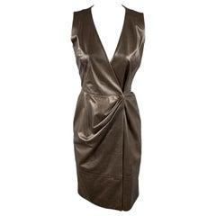 OSCAR DE LA RENTA Size 4 Brown Leather Draped Sleeveless Wrap Dress