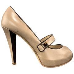 OSCAR DE LA RENTA Size 6 Taupe Leather Peep Toe Mary Jane Pumps