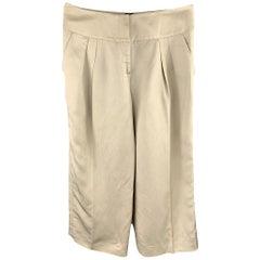 OSCAR DE LA RENTA Size 8 Beige Linen Blend Wide Leg Dress Pants