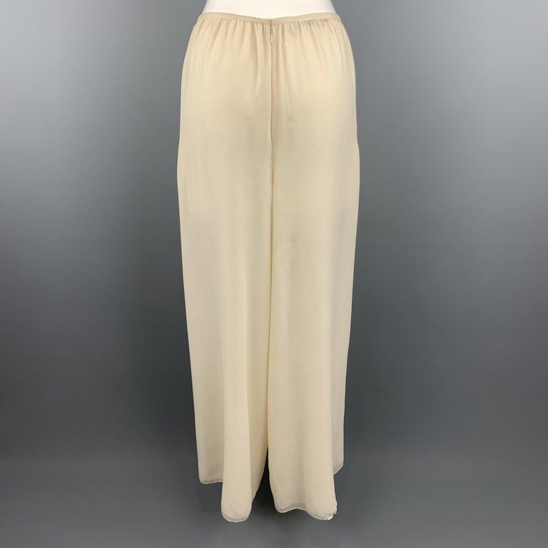 Beige OSCAR DE LA RENTA Size 8 Cream Silk Dress Pants