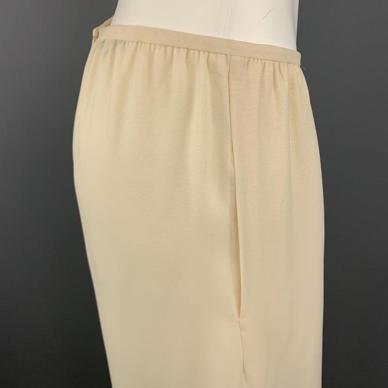 Women's OSCAR DE LA RENTA Size 8 Cream Silk Dress Pants