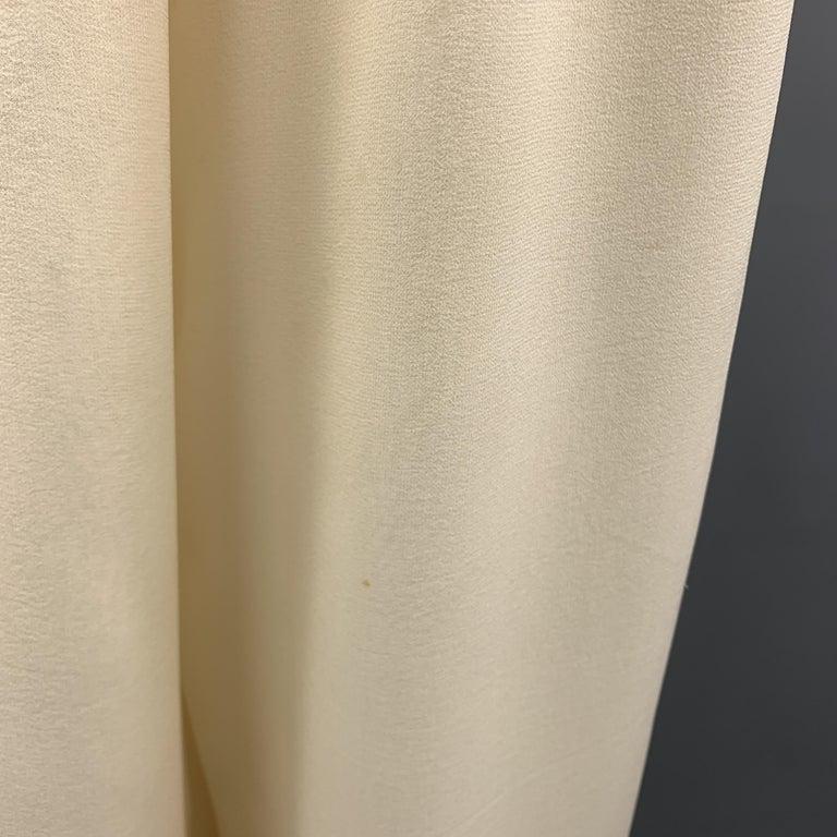 OSCAR DE LA RENTA Size 8 Cream Silk Dress Pants 1