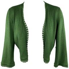 OSCAR DE LA RENTA Size M Green Cashmere / Silk Lace Trim Bolero Cardigan