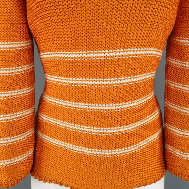 Oscar de la Renta Orange and Cream Striped Silk Knit Pullover In Excellent Condition For Sale In San Francisco, CA