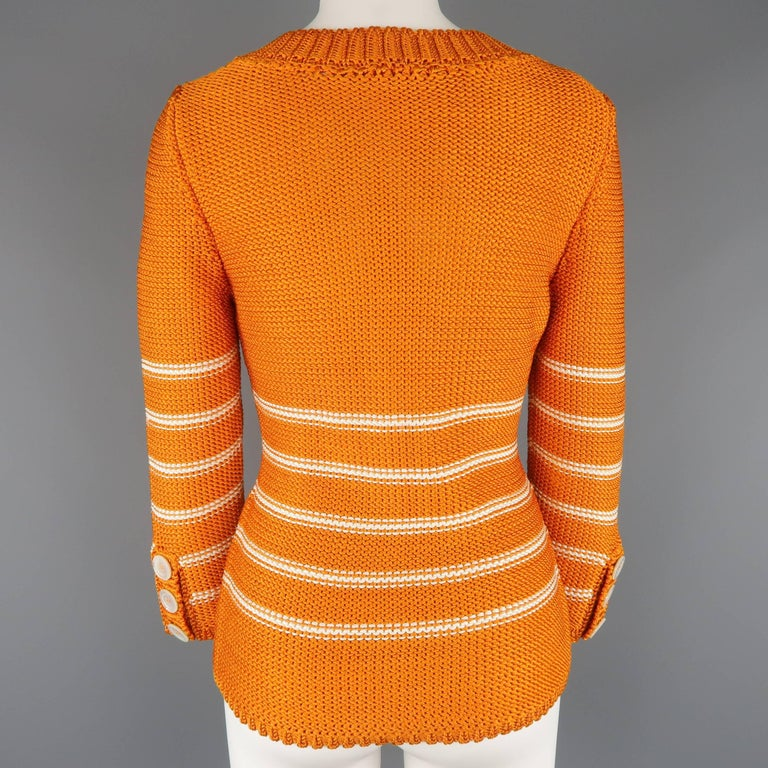 Oscar de la Renta Orange and Cream Striped Silk Knit Pullover For Sale 1