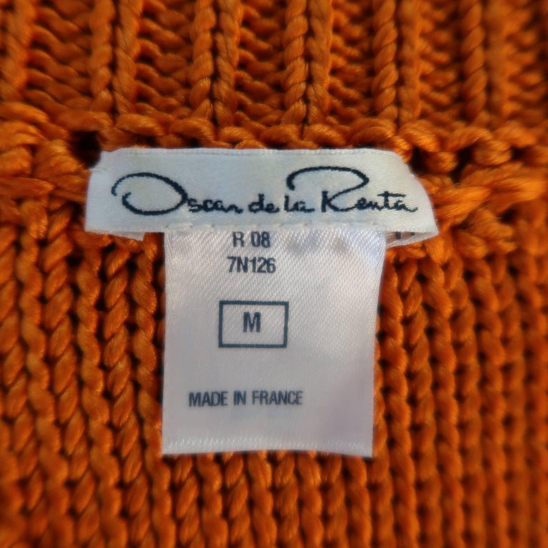 Oscar de la Renta Orange and Cream Striped Silk Knit Pullover For Sale 3