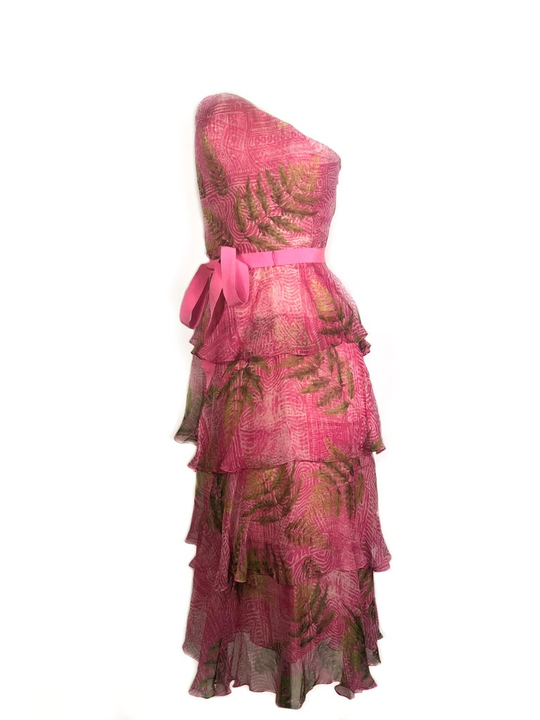 Women's OSCAR DE LA RENTA Sleeveless Pink Midi Dress w/ Belt Size 6 For Sale
