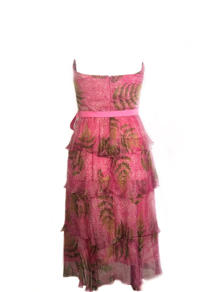 OSCAR DE LA RENTA Sleeveless Pink Midi Dress w/ Belt Size 6 For Sale 1