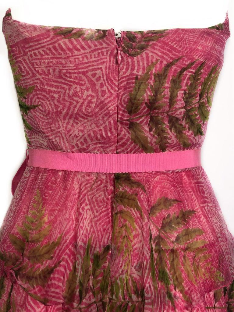 OSCAR DE LA RENTA Sleeveless Pink Midi Dress w/ Belt Size 6 For Sale 2