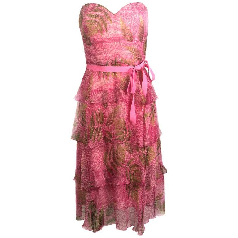 OSCAR DE LA RENTA Sleeveless Pink Midi Dress w/ Belt Size 6 For Sale