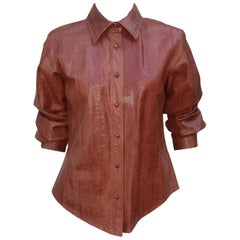 Oscar de La Renta Snakeskin Blouse Jacket