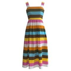 Oscar de la Renta Spring 2020 Multicolor Stripe Print Cotton Sun Dress