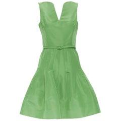 OSCAR DE LA RENTA SS15 green silk dipped neckline belted fit flare dress US0 XS