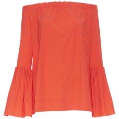 OSCAR DE LA RENTA SS17 red cotton silk pleated bell sleeve boff shoulder top US0