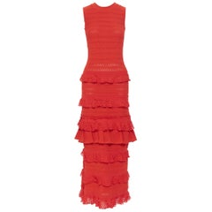 OSCAR DE LA RENTA SS17 red knitted tiered ruffle trimevening gown dress XS