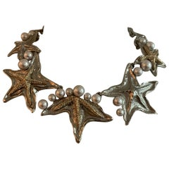 Oscar de la Renta Starfish Necklace in Silver and Gold Tone with Faux Pearls