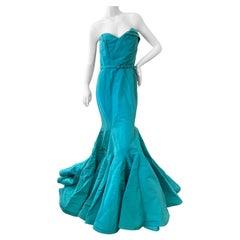 Oscar de la Renta Striking Strapless Robin's Egg Blue Silk Taffeta Mermaid Dress