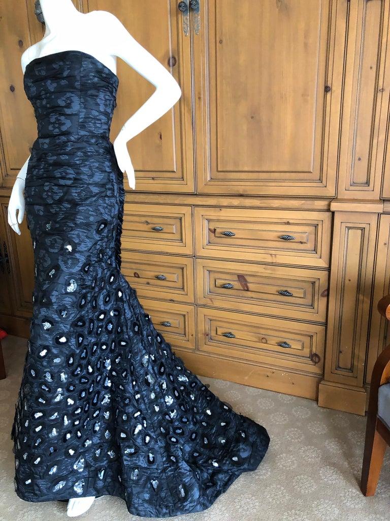 Women's Oscar de la Renta Stunning Black Embellished Strapless Mermaid Dress with Train For Sale