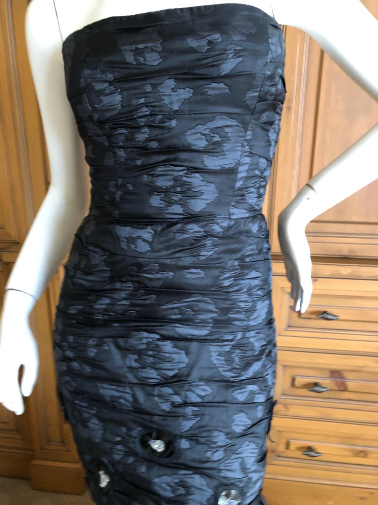 Oscar de la Renta Stunning Black Embellished Strapless Mermaid Dress with Train For Sale 1