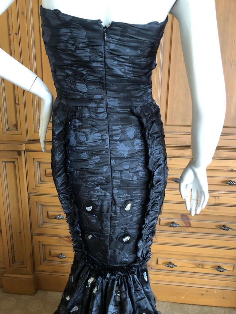 Oscar de la Renta Stunning Black Embellished Strapless Mermaid Dress with Train For Sale 3