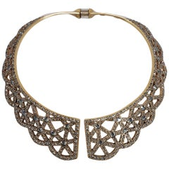 Oscar de la Renta Swarovski Smoky Gray Crystal Collar Necklace In Gold