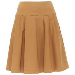 OSCAR DE LA RENTA tan brown nylon cotton flared knee length skirt US0 25""