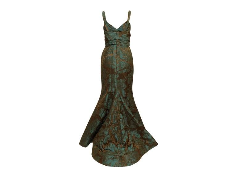 Blue Oscar de la Renta Teal & Brown Fall 2011 Jacquard Gown For Sale