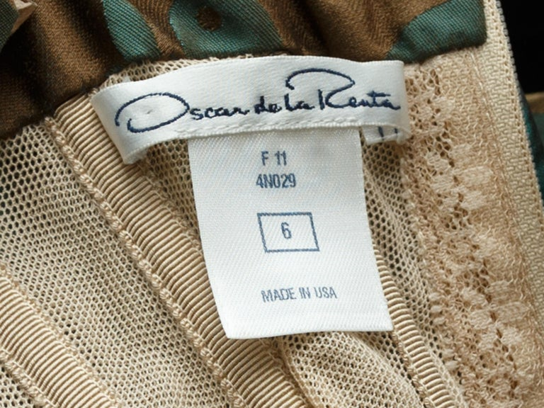 Oscar de la Renta Teal & Brown Fall 2011 Jacquard Gown In Good Condition For Sale In New York, NY