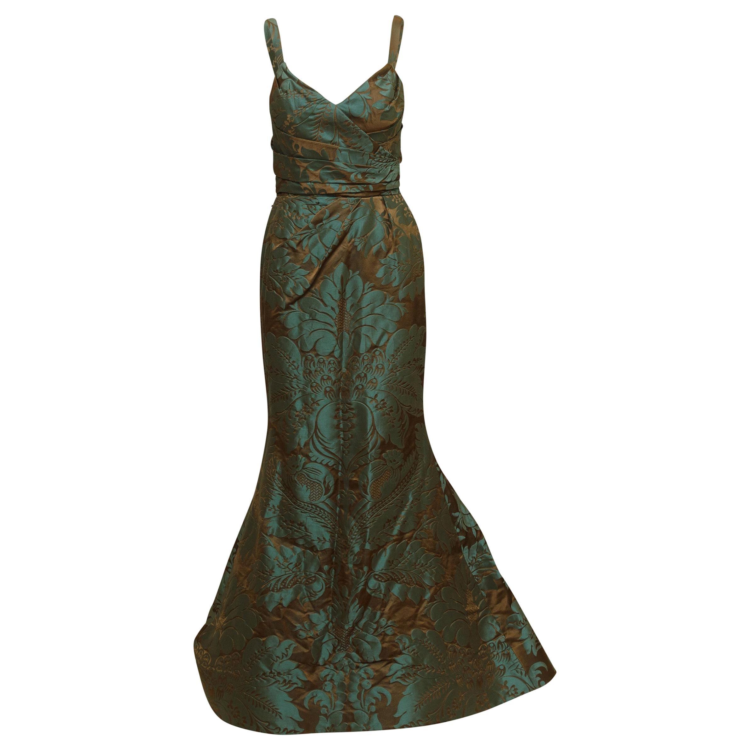 Oscar de la Renta Teal & Brown Fall 2011 Jacquard Gown