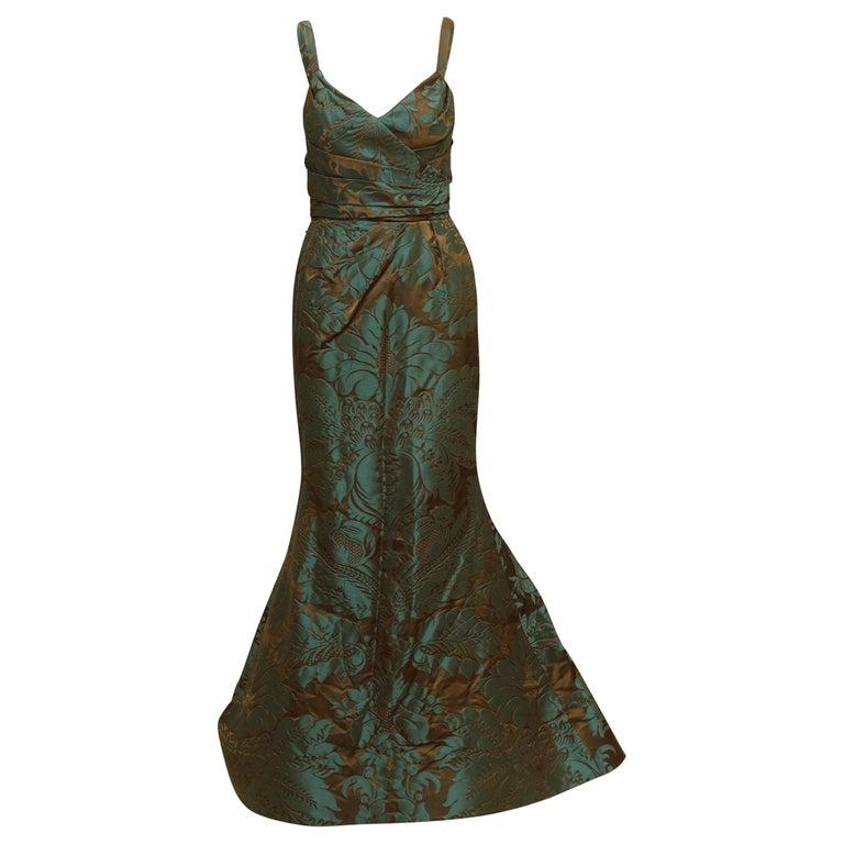 Oscar de la Renta Teal & Brown Fall 2011 Jacquard Gown For Sale