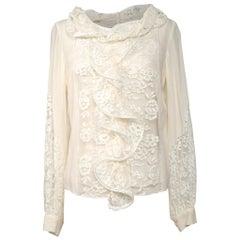 Oscar de la Renta Top Lace w/ Front Ruffle Blouse Cream Silk 8 New w/Tag