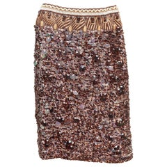 Oscar de la Renta Tribal Motif Sequin Skirt