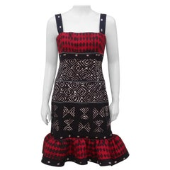 Oscar de la Renta Tribal Print Cotton Dress