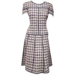 Oscar de la Renta Tweed Blue, Pink & Beige Short Sleeve A Line Dress