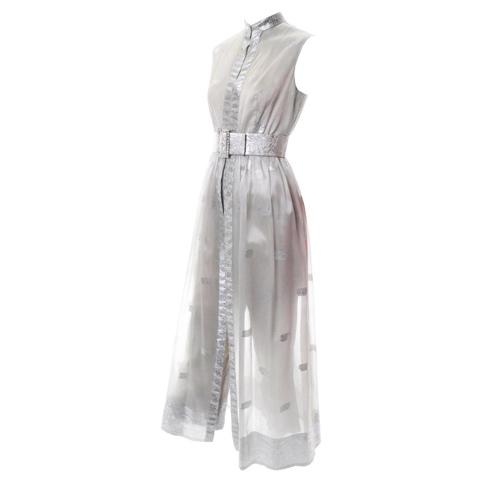 Oscar de la Renta Vintage 2pc Tunic Dress in Metallic Sheer Organza Over Pants