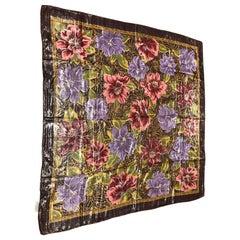 Oscar de la Renta Vintage 44 x 44 Rayon/Metallic Floral Shawl