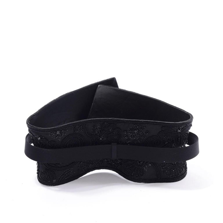 Oscar de la Renta Vintage Beaded Black Satin, Leather & Tulle Wide Corset Belt In Excellent Condition For Sale In Portland, OR