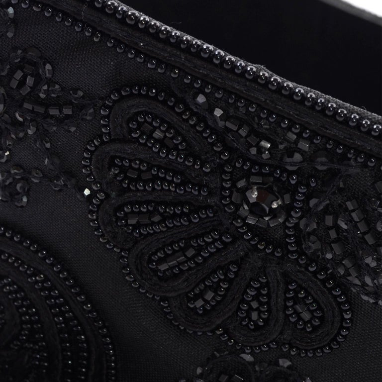 Women's Oscar de la Renta Vintage Beaded Black Satin, Leather & Tulle Wide Corset Belt For Sale