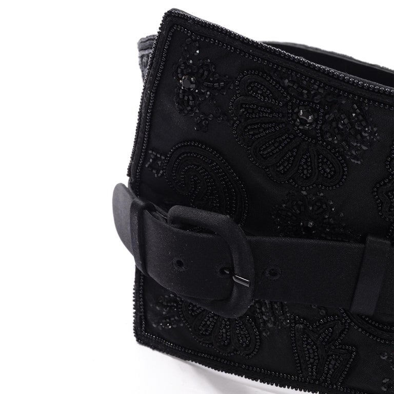 Oscar de la Renta Vintage Beaded Black Satin, Leather & Tulle Wide Corset Belt For Sale 1